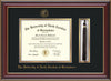 Image of University of North Carolina Greensboro Diploma Frame - Cherry Lacquer - w/Embossed Seal & Name - Tassel Holder - Black on Gold mat