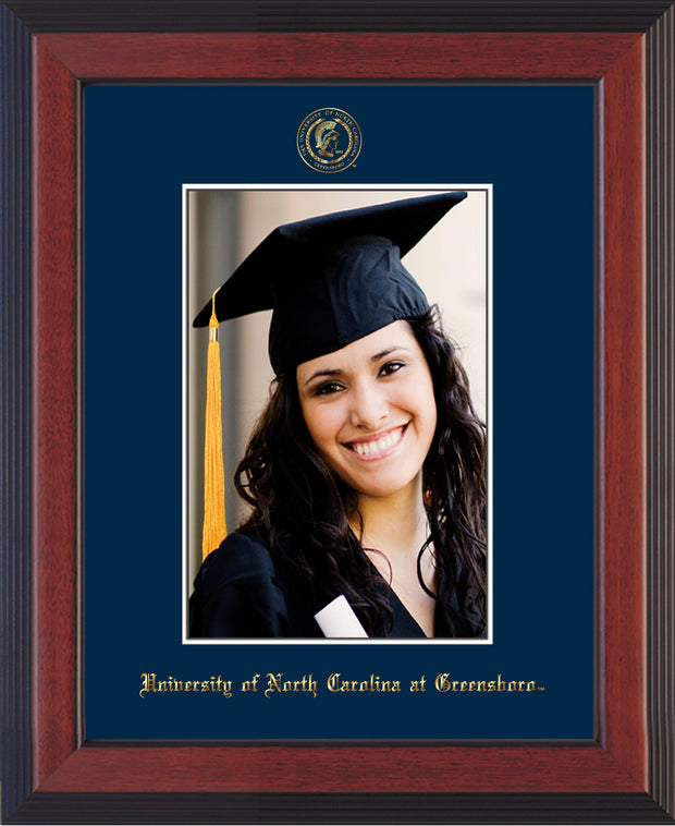 Image of University of North Carolina Greensboro 5 x 7 Photo Frame - Cherry Reverse - w/Official Embossing of UNCG Seal & Name - Single Navy mat