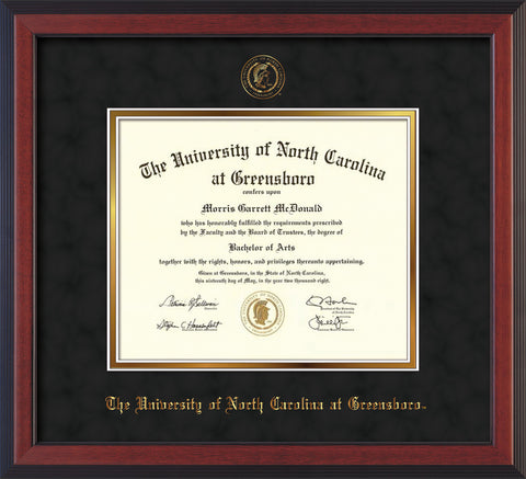 Image of University of North Carolina Greensboro Diploma Frame - Cherry Reverse - w/Embossed Seal & Name - Black Suede on Gold mat