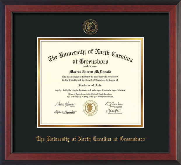 Image of University of North Carolina Greensboro Diploma Frame - Cherry Reverse - w/Embossed Seal & Name - Black on Gold mat