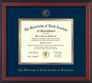 Image of University of North Carolina Greensboro Diploma Frame - Cherry Reverse - w/Embossed Seal & Name - Navy on Gold mat