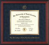 Image of University of North Carolina Greensboro Diploma Frame - Cherry Reverse - w/Embossed Seal & Name - Navy Suede on Gold mat