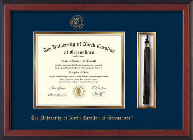 Image of University of North Carolina Greensboro Diploma Frame - Cherry Reverse - w/Embossed Seal & Name - Tassel Holder - Black on Gold mat
