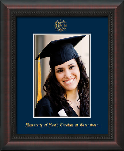 Image of University of North Carolina Greensboro 5 x 7 Photo Frame - Mahogany Braid - w/Official Embossing of UNCG Seal & Name - Single Navy mat