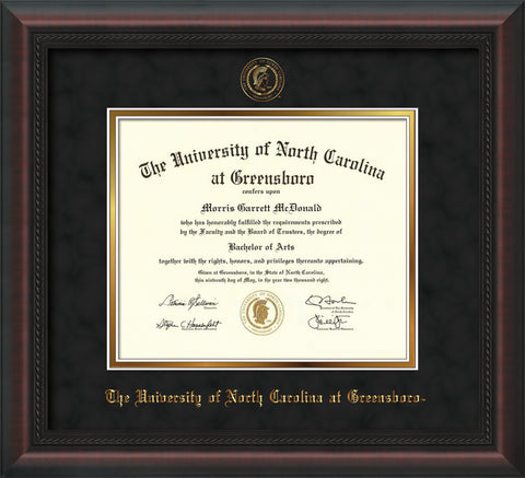 Image of University of North Carolina Greensboro Diploma Frame - Mahogany Braid - w/Embossed Seal & Name - Black Suede on Gold mat