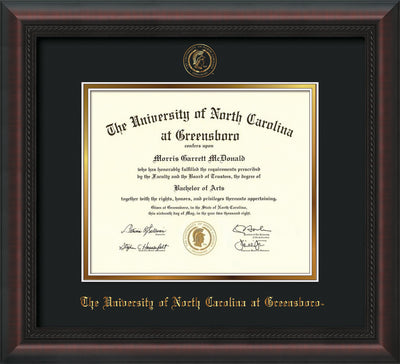 Image of University of North Carolina Greensboro Diploma Frame - Mahogany Braid - w/Embossed Seal & Name - Black on Gold mat