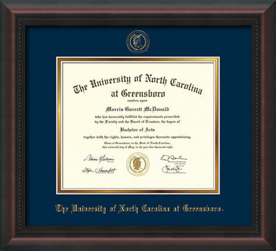Image of University of North Carolina Greensboro Diploma Frame - Mahogany Braid - w/Embossed Seal & Name - Navy on Gold mat
