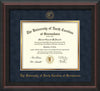 Image of University of North Carolina Greensboro Diploma Frame - Mahogany Braid - w/Embossed Seal & Name - Navy Suede on Gold mat