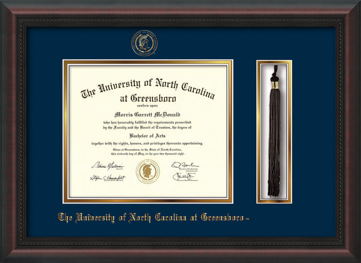 Image of University of North Carolina Greensboro Diploma Frame - Mahogany Braid - w/Embossed Seal & Name - Tassel Holder - Black on Gold mat