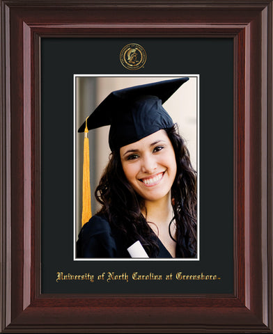 Image of University of North Carolina Greensboro 5 x 7 Photo Frame  - Mahogany Lacquer - w/Official Embossing of UNCG Seal & Name - Single Black mat