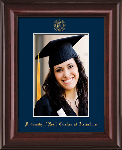 Image of University of North Carolina Greensboro 5 x 7 Photo Frame - Mahogany Lacquer - w/Official Embossing of UNCG Seal & Name - Single Navy mat