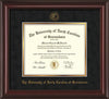 Image of University of North Carolina Greensboro Diploma Frame - Mahogany Lacquer - w/Embossed Seal & Name - Black Suede on Gold mat