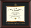 Image of University of North Carolina Greensboro Diploma Frame - Mahogany Lacquer - w/Embossed Seal & Name - Black on Gold mat