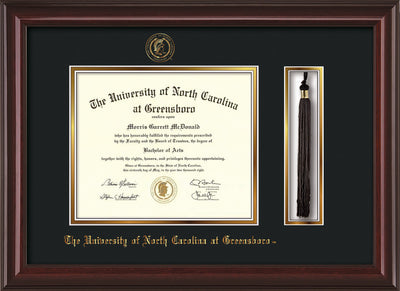 Image of University of North Carolina Greensboro Diploma Frame - Mahogany Lacquer - w/Embossed Seal & Name - Tassel Holder - Black on Gold mat