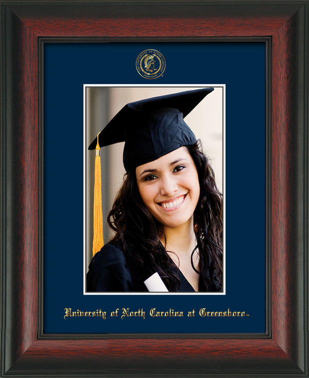 Image of University of North Carolina Greensboro 5 x 7 Photo Frame - Rosewood - w/Official Embossing of UNCG Seal & Name - Single Navy mat
