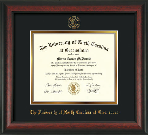 Image of University of North Carolina Greensboro Diploma Frame - Rosewood - w/Embossed Seal & Name - Black on Gold mat