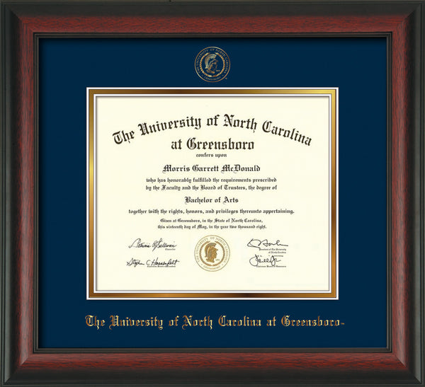 Unc Greensboro Diploma Frame Rosewood Seal Navy On