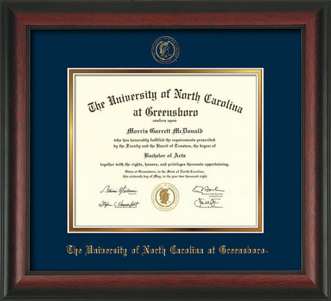 Image of University of North Carolina Greensboro Diploma Frame - Rosewood - w/Embossed Seal & Name - Navy on Gold mat