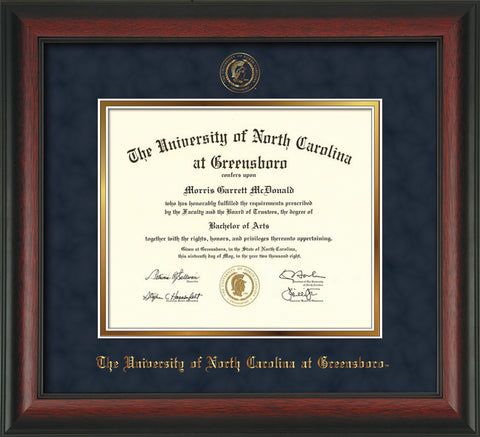 Image of University of North Carolina Greensboro Diploma Frame - Rosewood - w/Embossed Seal & Name - Navy Suede on Gold mat