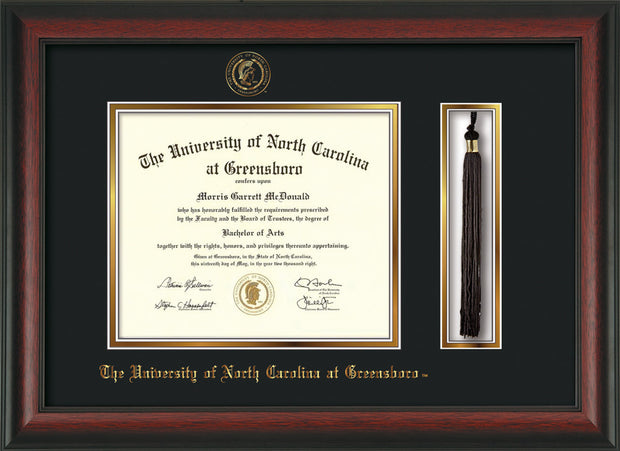 Image of University of North Carolina Greensboro Diploma Frame - Rosewood - w/Embossed Seal & Name - Tassel Holder - Black on Gold mat