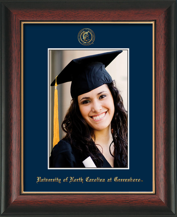 Image of University of North Carolina Greensboro 5 x 7 Photo Frame - Rosewood w/Gold Lip - w/Official Embossing of UNCG Seal & Name - Single Navy mat