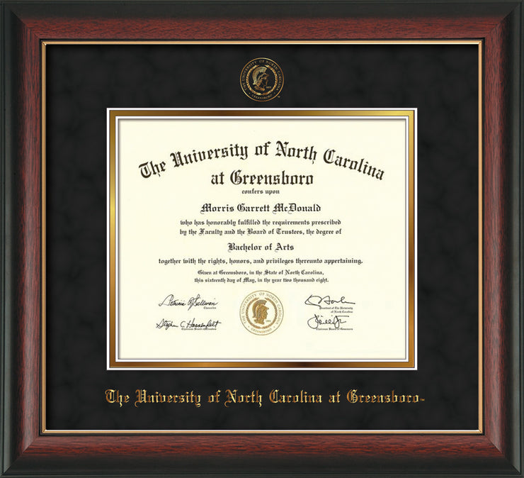 Image of University of North Carolina Greensboro Diploma Frame - Rosewood w/Gold Lip - w/Embossed Seal & Name - Black Suede on Gold mat