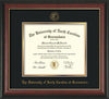 Image of University of North Carolina Greensboro Diploma Frame - Rosewood w/Gold Lip - w/Embossed Seal & Name - Black on Gold mat