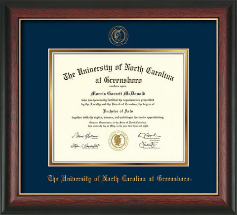 Image of University of North Carolina Greensboro Diploma Frame - Rosewood w/Gold Lip - w/Embossed Seal & Name - Navy on Gold mat