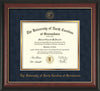 Image of University of North Carolina Greensboro Diploma Frame - Rosewood w/Gold Lip - w/Embossed Seal & Name - Navy Suede on Gold mat