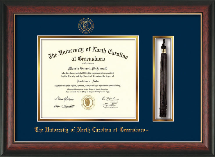 Image of University of North Carolina Greensboro Diploma Frame - Rosewood w/Gold Lip - w/Embossed Seal & Name - Tassel Holder - Black on Gold mat