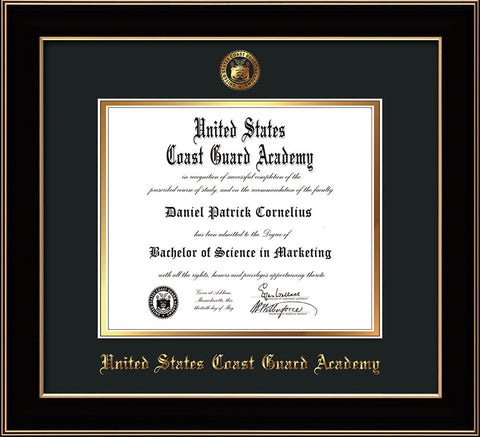 Image of United States Coast Guard Academy Diploma Frame - Black Lacquer - w/USCGA Embossed Seal & Name - Black on Gold mat