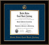 Image of United States Coast Guard Academy Diploma Frame - Black Lacquer - w/USCGA Embossed Seal & Name - Navy Suede on Gold mat