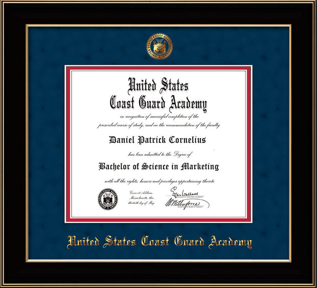 Image of United States Coast Guard Academy Diploma Frame - Black Lacquer - w/USCGA Embossed Seal & Name - Navy Suede on Red mat