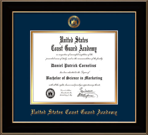 Image of United States Coast Guard Academy Diploma Frame - Black Lacquer - w/USCGA Embossed Seal & Name - Navy on Gold mat