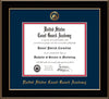 Image of United States Coast Guard Academy Diploma Frame - Black Lacquer - w/USCGA Embossed Seal & Name - Navy on Red mat