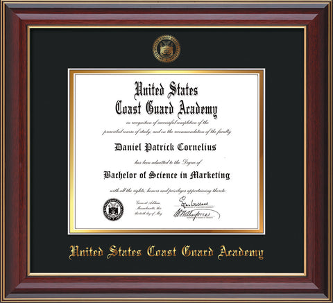 Image of United States Coast Guard Academy Diploma Frame - Cherry Lacquer - w/USCGA Embossed Seal & Name - Black on Gold mat
