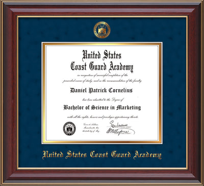 Image of United States Coast Guard Academy Diploma Frame - Cherry Lacquer - w/USCGA Embossed Seal & Name - Navy Suede on Gold mat