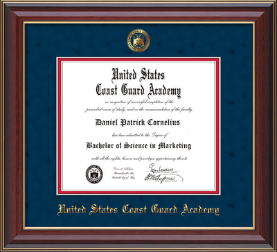 Image of United States Coast Guard Academy Diploma Frame - Cherry Lacquer - w/USCGA Embossed Seal & Name - Navy Suede on Red mat