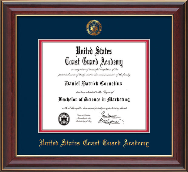 Image of United States Coast Guard Academy Diploma Frame - Cherry Lacquer - w/USCGA Embossed Seal & Name - Navy on Red mat