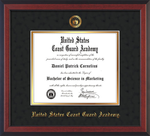 Image of United States Coast Guard Academy Diploma Frame - Cherry Reverse - w/USCGA Embossed Seal & Name - Black Suede on Gold mat