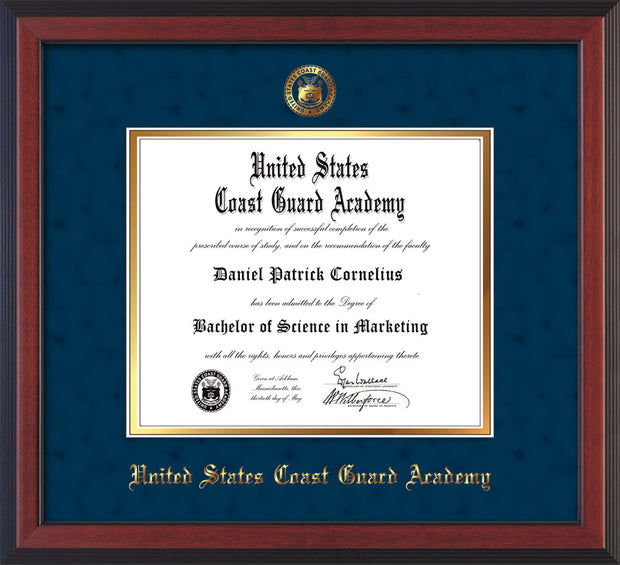 Image of United States Coast Guard Academy Diploma Frame - Cherry Reverse - w/USCGA Embossed Seal & Name - Navy Suede on Gold mat