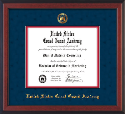 Image of United States Coast Guard Academy Diploma Frame - Cherry Reverse - w/USCGA Embossed Seal & Name - Navy Suede on Red mat