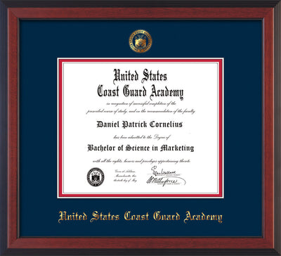 Image of United States Coast Guard Academy Diploma Frame - Cherry Reverse - w/USCGA Embossed Seal & Name - Navy on Red mat