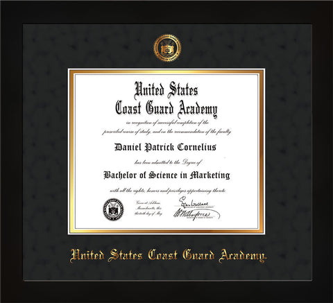 Image of United States Coast Guard Academy Diploma Frame - Flat Matte Black - w/USCGA Embossed Seal & Name - Black Suede on Gold mat