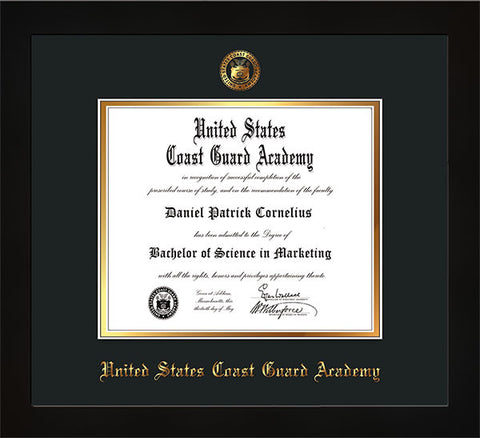 Image of United States Coast Guard Academy Diploma Frame - Flat Matte Black - w/USCGA Embossed Seal & Name - Black on Gold mat