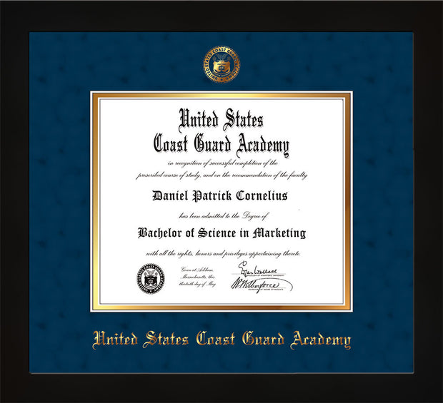 Image of United States Coast Guard Academy Diploma Frame - Flat Matte Black - w/USCGA Embossed Seal & Name - Navy Suede on Gold mat