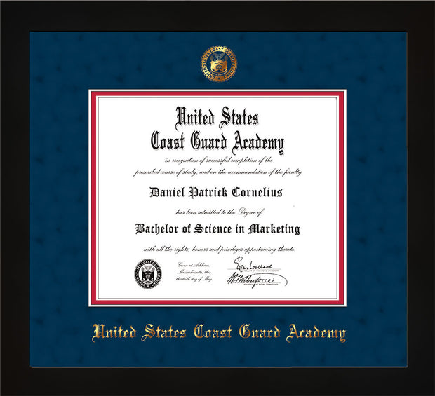 Image of United States Coast Guard Academy Diploma Frame - Flat Matte Black - w/USCGA Embossed Seal & Name - Navy Suede on Red mat