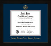 Image of United States Coast Guard Academy Diploma Frame - Flat Matte Black - w/USCGA Embossed Seal & Name - Navy on Red mat