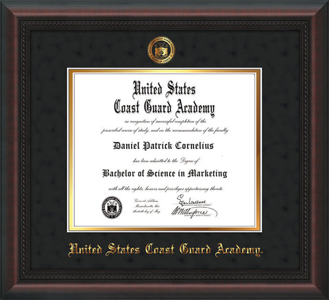 Image of United States Coast Guard Academy Diploma Frame - Mahogany Braid - w/USCGA Embossed Seal & Name - Black Suede on Gold mat
