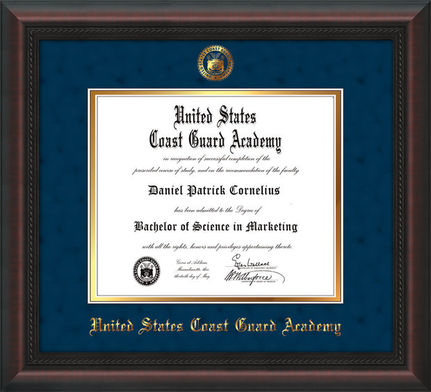 Image of United States Coast Guard Academy Diploma Frame - Mahogany Braid - w/USCGA Embossed Seal & Name - Navy Suede on Gold mat